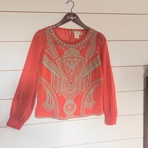 Flying Tomato Orange and Mint Blouse Size Small